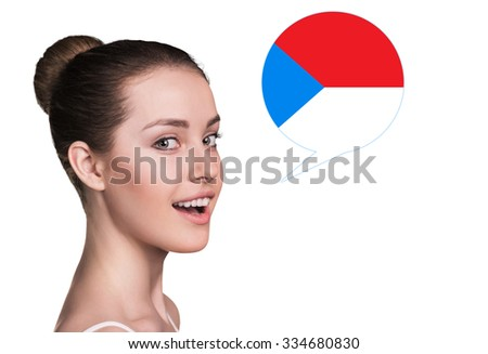 Beautiful woman speak.Bubble with Czech flag. Isolated background.