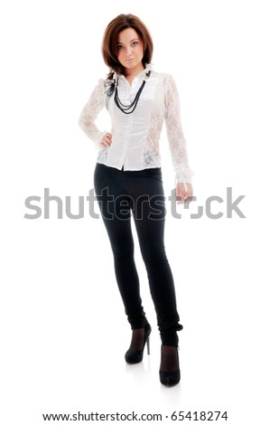 beautiful woman standing against isolated white background - stock photo