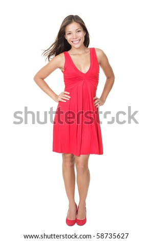 Beautiful woman standing in red dress isolated on white in full length, Young gorgeous female model looking healthy and fresh!