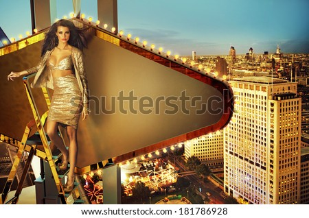 Beautiful woman standing on the ladder - stock photo