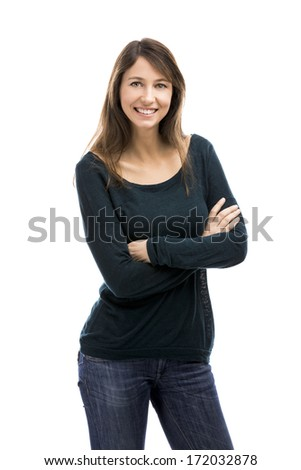 Beautiful woman standing over a white background - stock photo