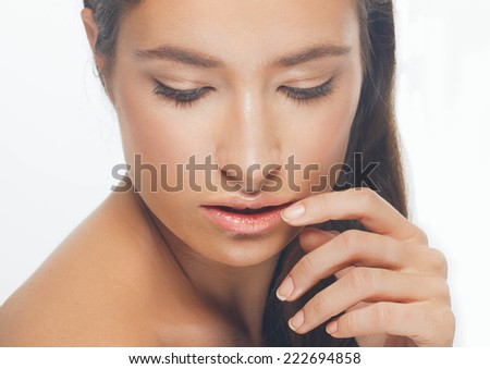 beautiful woman studio  natural portrait with shine skin