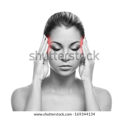 Beautiful woman suffering from the head ache - stock photo
