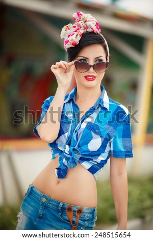 Beautiful woman summer portrait retro pin up style, sexy bikini girl at beach, Woman at vacation Cuba. series. soft retro tonality - stock photo