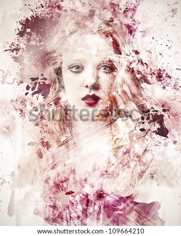 Beautiful woman surrounded by a pink cloud - stock photo
