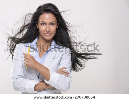 Beautiful woman,thirty years old with long black hair  - stock photo
