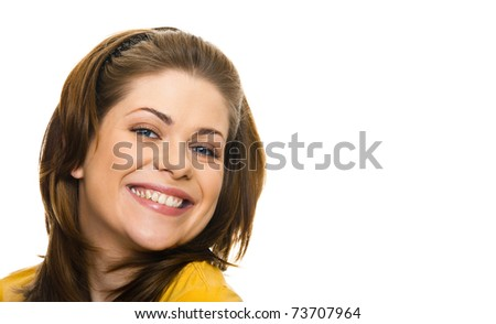 Beautiful woman toothy smiling closeup portrait on white background
