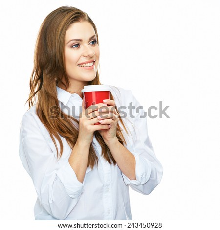 beautiful woman toothy smiling portrait with red coffee cup isolated on white background. business people. - stock photo