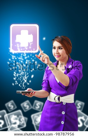 Beautiful woman touch the First Aid icon from mobile phone