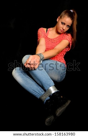Beautiful woman victim of domestic violence and abuse  - stock photo