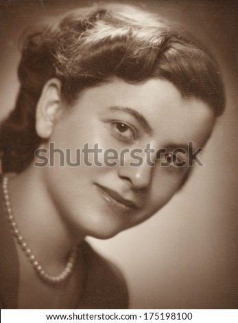 Beautiful woman vintage photo  - stock photo