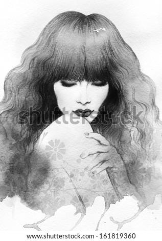 Beautiful woman. watercolor illustration - stock photo