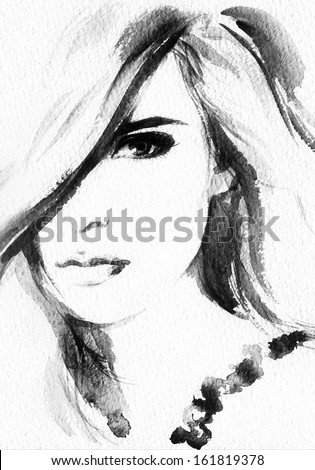 Beautiful woman. watercolor illustration - stock photo