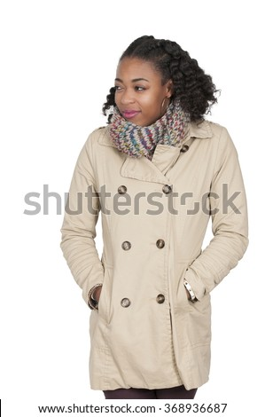 Beautiful woman wearing her winter coat and scarf