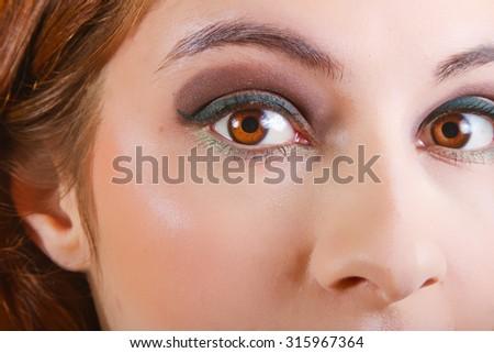 Beautiful Woman Wearing Natural Color Makeup - stock photo
