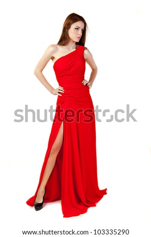 Beautiful woman wearing red dress. Fashion photo. - stock photo