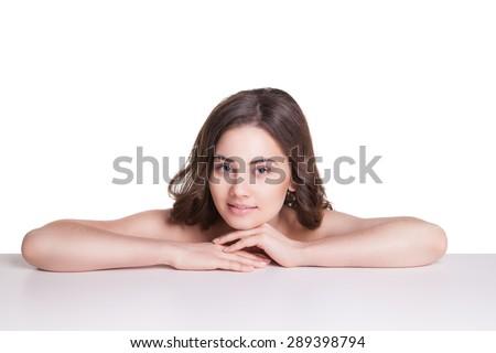 Beautiful  woman wearing white towel - stock photo