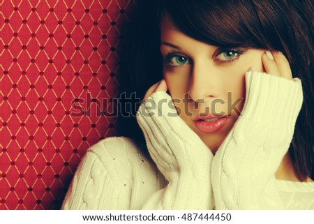 Beautiful woman wearing winter sweater