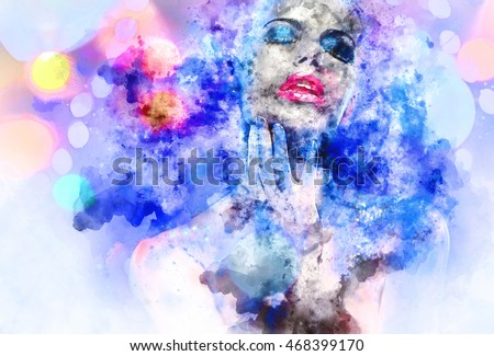 Beautiful woman with a bright make-up. Digital watercolor painting.