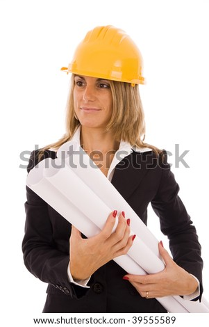 Beautiful woman with a construction helmet holding blueprint projects