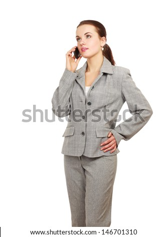 Beautiful woman with a phone in her hand. Isolated on white background