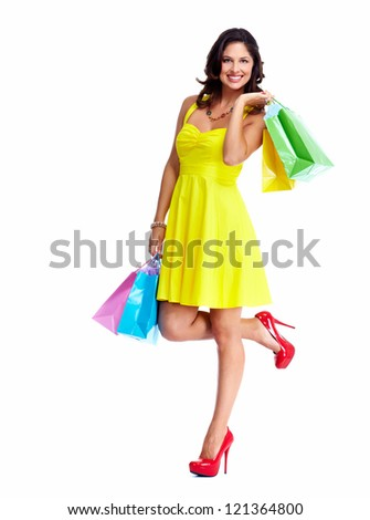 Beautiful woman with a shopping bags. Isolated on white. - stock photo