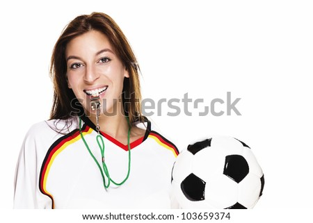 beautiful woman with a whistle holding football on white background - stock photo
