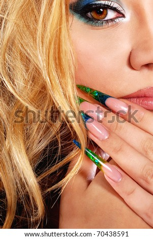beautiful  woman with artistic make-up - stock photo