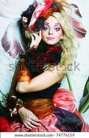 Beautiful woman with artistic make-up. Princess style. - stock photo