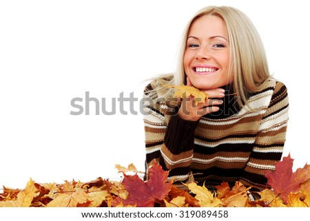 Beautiful woman with autumn leaves isolated on whiite background - stock photo