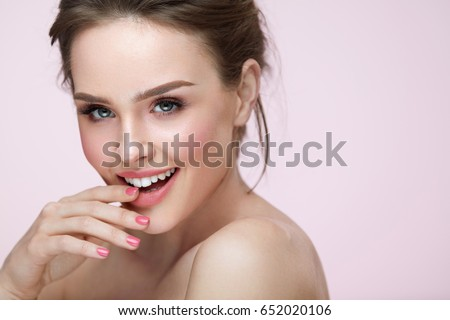 Simplifying Effective Plans Of Beautiful Brides stock photo beautiful woman with beauty face makeup portrait of attractive female touching smooth facial skin 652020106