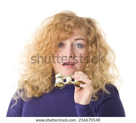 Beautiful Woman With Binoculars. - stock photo
