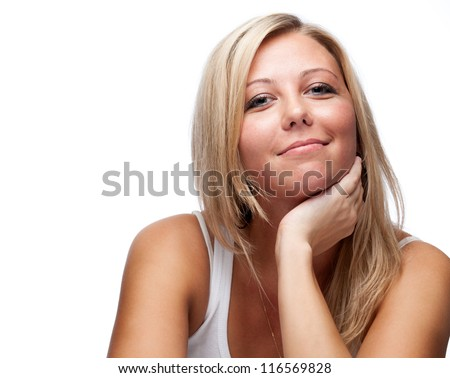 beautiful woman with blonde hair - stock photo