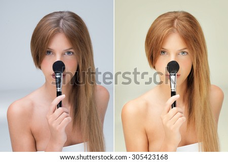 beautiful woman with blusher brush on nose before and after retouching - stock photo