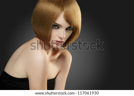 Beautiful Woman with Bob hairstyle. High quality image. - stock photo