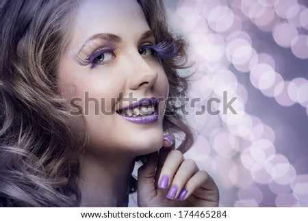 Beautiful woman with bright makeup