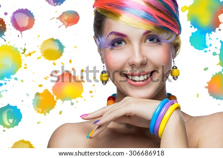 Beautiful woman with bright makeup  - stock photo