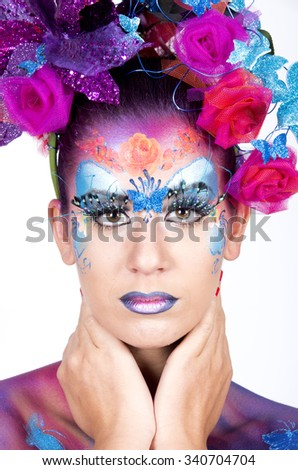 Beautiful woman with bright stylish make-up - stock photo