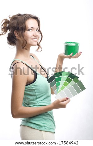 beautiful woman with can and palette - stock photo