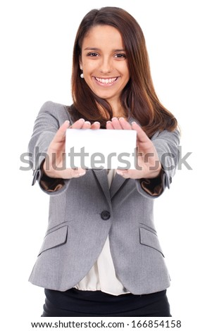 beautiful woman with card in hand to message - stock photo