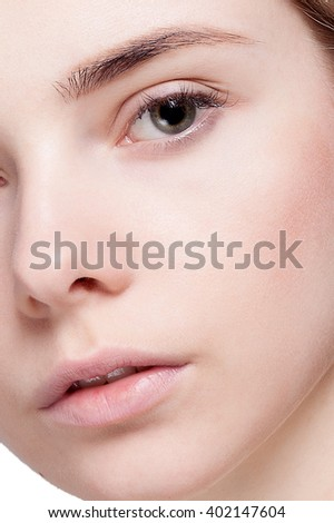 Beautiful  Woman with Clean Fresh Skin close up . Skin care face . Cosmetology