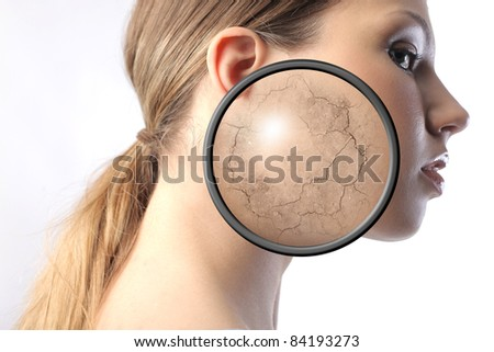 Beautiful woman with closeup of her dried visage