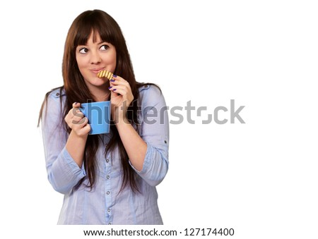 Beautiful Woman With Coffee And Cookies Isolated On White Background - stock photo