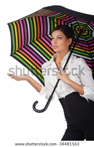 beautiful woman with colorful umbrella on white background