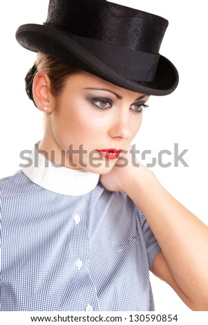 Beautiful Woman With Cylinder's Hat Looking Left.