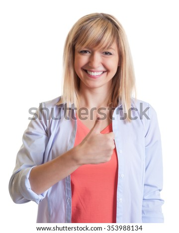 Beautiful woman with dark eyes showing thumb up - stock photo