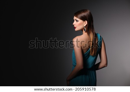 Beautiful woman with evening make-up. - stock photo