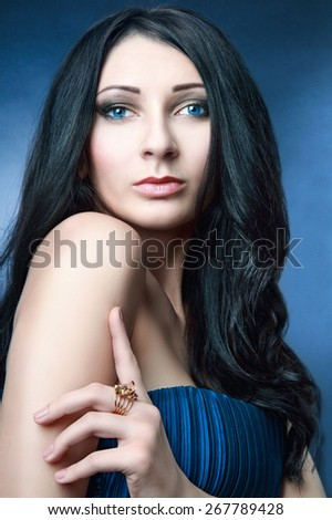 Beautiful woman with evening make-up and perfect skin . Fashion photo - stock photo