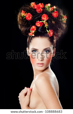 Beautiful woman with fashion hairstyle