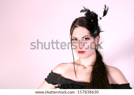 beautiful woman with fashion hairstyle - stock photo